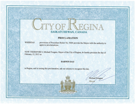 Regina Darwin Day Proclaimation
